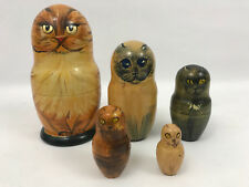 Russian Matryoshka Nesting Doll Cat Set of 5 Hand Painted And Signed by Artist