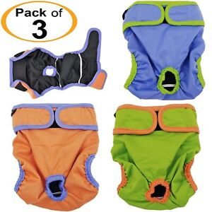 PACK - 3 Female Dog Diapers Cat Waterproof Leak Proof Washable Reusable XS S M L