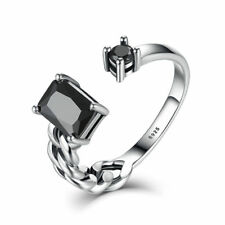 Vintage 925 Sterling Silver Black CZ Adjustable Open Cuff Ring Jewelry Gift