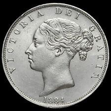 1884 Queen Victoria Young Head Silver Half Crown, Scarce