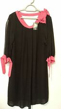 BRAND NEW NEXT LADIES FULLY LINED DRESS SIZE 12 TALL BLACK WITH PINK TRIM