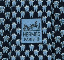 """Super Sweet Brand New Tag Hermes Tie Silk Twill Navy Blue """"FACE OU PILE"""" Mint!"""