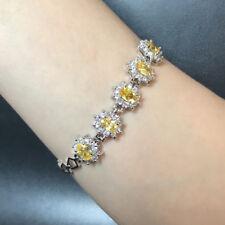 """Fashion Oval Yellow Citrine Cubic Zirconia Five Stone CZ Bracelet Xmas Gift 7"""""""