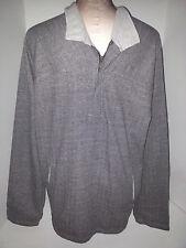 Sol-Angeles Black White STRIPE PULLOVER Sweatshirt SWEATER MENS Large 1/3 Button