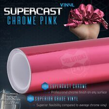 "Pink Supercast Flex Stretch Mirror Chrome Vinyl Wrap Bubble Free - 36"" x 60"" In"
