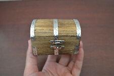 HANDMADE CARVED PIRATE TREASURE CHEST JEWELRY TRINKET WOOD BOX SF-391