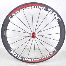 23mm wide 50mm Clincher carbon road bike wheels basalt red white sticker front