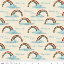 1/2 Yd Riley Blake Quilt Fabric Unicorns Rainbows on Cream Background