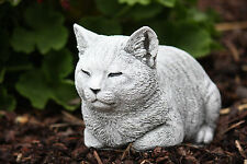 Steinfigur Katze Nappy ruhend Steinguss frostfest wetterfest Gartenfigur Deko