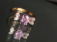 "Sparkly Amethyst & Diamonds 9ct Gold RING ""Bee"" ""Fly"" Design Size M"