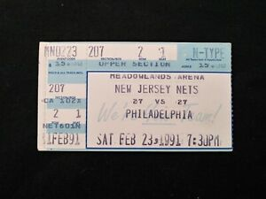 1991 NBA Ticket Stub Philadelphia 76ers Vs. New Jersey Nets Charles Barkley 30pt