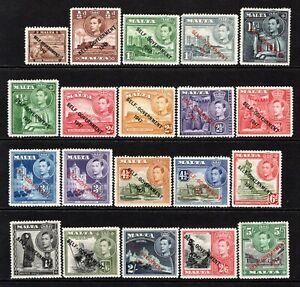 Malta KGVI  1948-53 Set to 5s SG234-47 LM/Mint-M/Mint (6d No Gum)