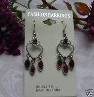 Topaz Crystal Floral Heart Dangle Chandelier Earrings