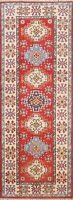 Geometric Vegetable Dye Super Kazak Oriental Runner Rug Wool Hand-Knotted 2x6 ft