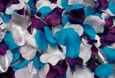 300pc Mixed Color Rose Petals Purple, Malibu / Turquoise, White, Silver Wedding