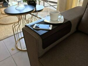 Sofa Couch Arm Tray Table with EVA Base. Weighted Sides. Fits Over Square Chair