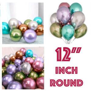 "10 /100 CHROME BALLOONS METALLIC LATEX PEARL 12""  Helium Baloon Birthdays Party"