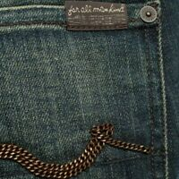 """NEW 7 for all mankind straight JEANS size 30 uk 12 32""""leg chain womens ladies"""