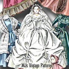 "Vtg Pattern China Head 12"" Doll Lady Godey Style Dresses Wedding Coat"