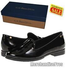 WOMEN'S BASS LUCILLE SLIP-ON BLACK LOAFERS SHOES 8M & GOLD TOE SOCKS BUNDLE NEW