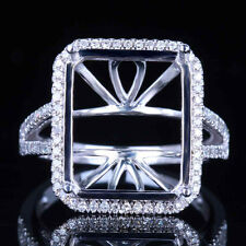 Split Shank 10K White Gold 14x12mm Emerald Semi Mount Diamond Wedding Fine Ring