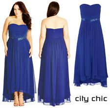 CITY CHIC  *BEADED DREAM* STRAPLESS CHIFFON GOWN  DRESS  Sz XXL  24W  NEW  $ 169