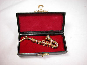 "Dollhouse Miniature Music  3"" Sax Saxophone w/Case #Z207 Will Not Play"