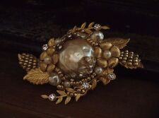Vintage Baroque Pearl Brooch with Gold Flowers & Leaves. Miriam Haskell Style