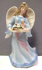 ANGEL WITH FLOWER BASKET & BIRD MUSICAL COSMOS GIFTS PORCELAIN #80112