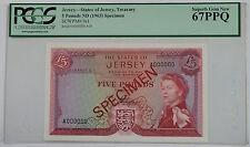 (1963) States of Jersey 5 Pound Specimen Note SCWPM# 9s1 PCGS 67 PPQ Superb Gem