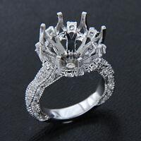 10MM Semi Mount Side Diamond 10k White Gold Vintage Engagement Ring for Women's