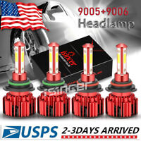4x 4SIDE 9005 9006 LED Headlight Kit Combo Bulb 6500K High Low Beam Super White