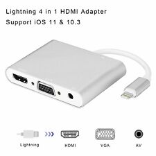 Lightning to HDMI/HDTV/VGA/cable Adapter Audio For iPhone X 8 6 6S 7 7 Plus