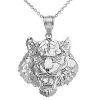 Sterling Silver Men's Roaring Tiger Small, Medium, Large Size Pendant Necklace