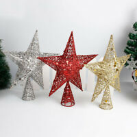 GLITTER STAR XMAS TREE TOPPER DECORATION METAL IRON CHRISTMAS PARTY ORNAMENTS