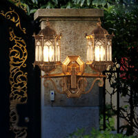 French Provincial Clear Glass Metal Lantern 2 Lamps Exterior Wall Lights Fixture