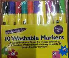10 Washable Markers Felt Tip Pens Pen Colouring Drawing Art & Crafts Craft Fibre
