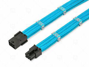 6 Broches Pcie Gpu 30cm Extension Câble Bleu à Manches + 2 Sans Peignes Shakmods
