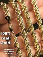 """10k REAL GOLD Rope Chain hollow Y 26"""" 6mm 19.2g (ask 18 20 22 24 28 30 Italy"""