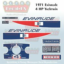 1971 Evinrude 4 HP Yachtwin Outboard Repro 10 Piece Marine Vinyl Decals 4136-37