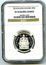 2010 CANADA SILVER PROOF 50 CENT HALF DOLLAR NGC PF70 UCAM SUPER RARE TOP POP=6