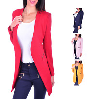 AO Kragenloser Long Blazer Zipper S - XXXXL 36 - 48 Damenblazer Casual Business