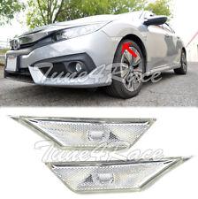 For 16-Up Honda Civic Side Marker Lights Lamps CRYSTAL CLEAR Bumper Reflector
