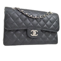 CHANEL Quilted CC Double Flap Chain Shoulder Bag Black Caviar SHW NR13005k