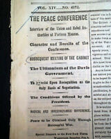 WILLIAM T. SHERMAN Coastal March & Abraham Lincoln PEACE Meeting 1865 Newspaper