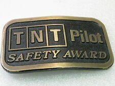 "Vintage Belt Buckle TNT Pilot Safety Award, Brass Belt Buckle , 2"" belt"