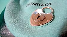 NEW Tiffany & Co. Vintage Heart Lock Charm Padlock Key Hole Sterling Silver 925
