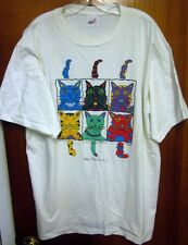 JOE McALISTER Cat Tails tee XL dayglo New Bern NC multi-color 1990 pop art