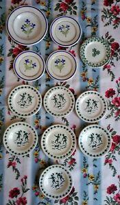 Assiettes plats Dînette ancienne décor au pochoir - Fénal Badonviller Pexonne