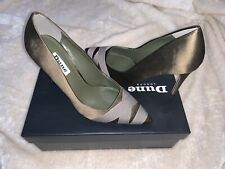 New Dune Satin Point Court Khaki High Heels Uk Size 4 Green Strapped Pointed